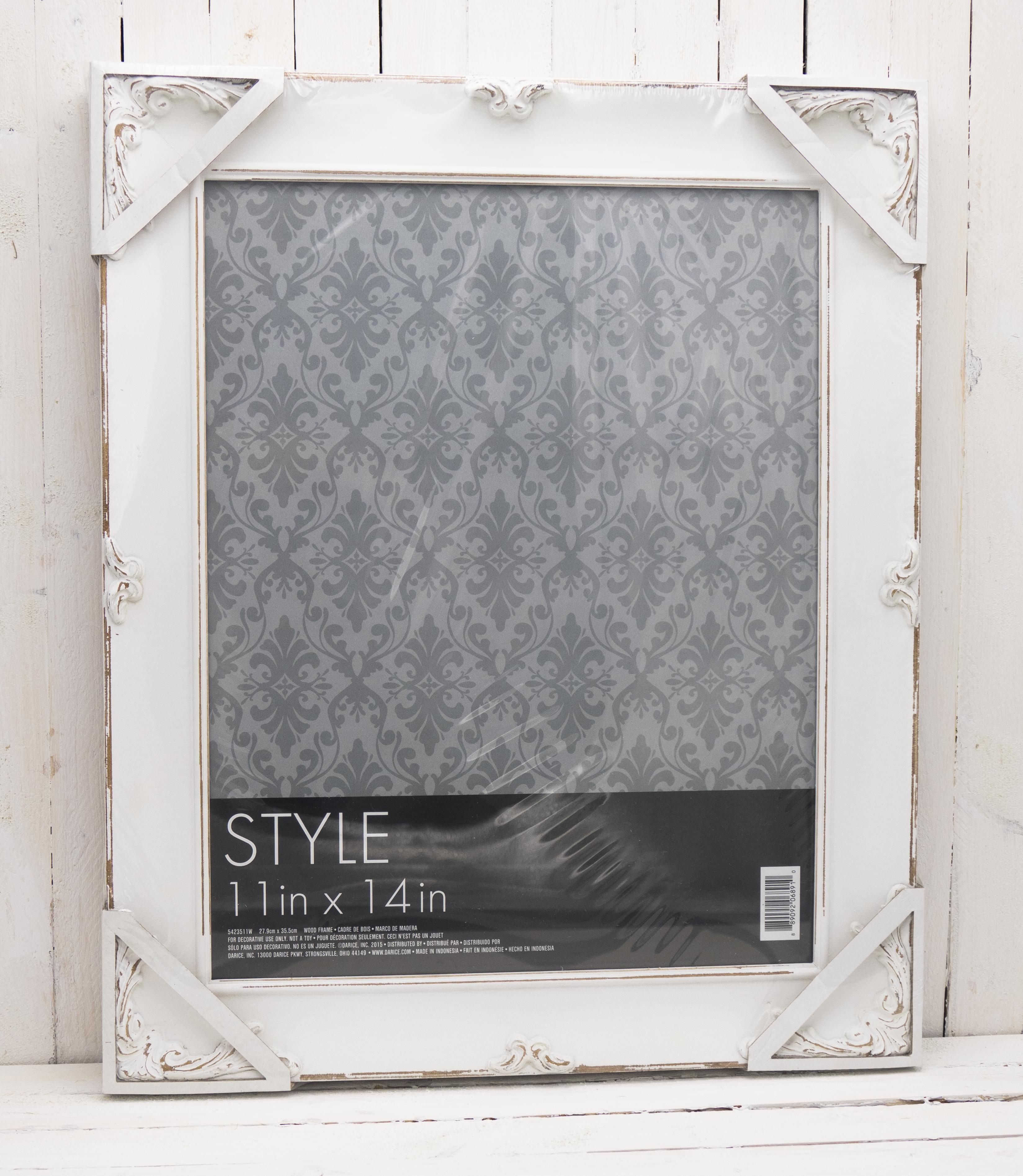 Ornate Rustic Picture Frame - Wood - Distressed White - 11 x 14 ...