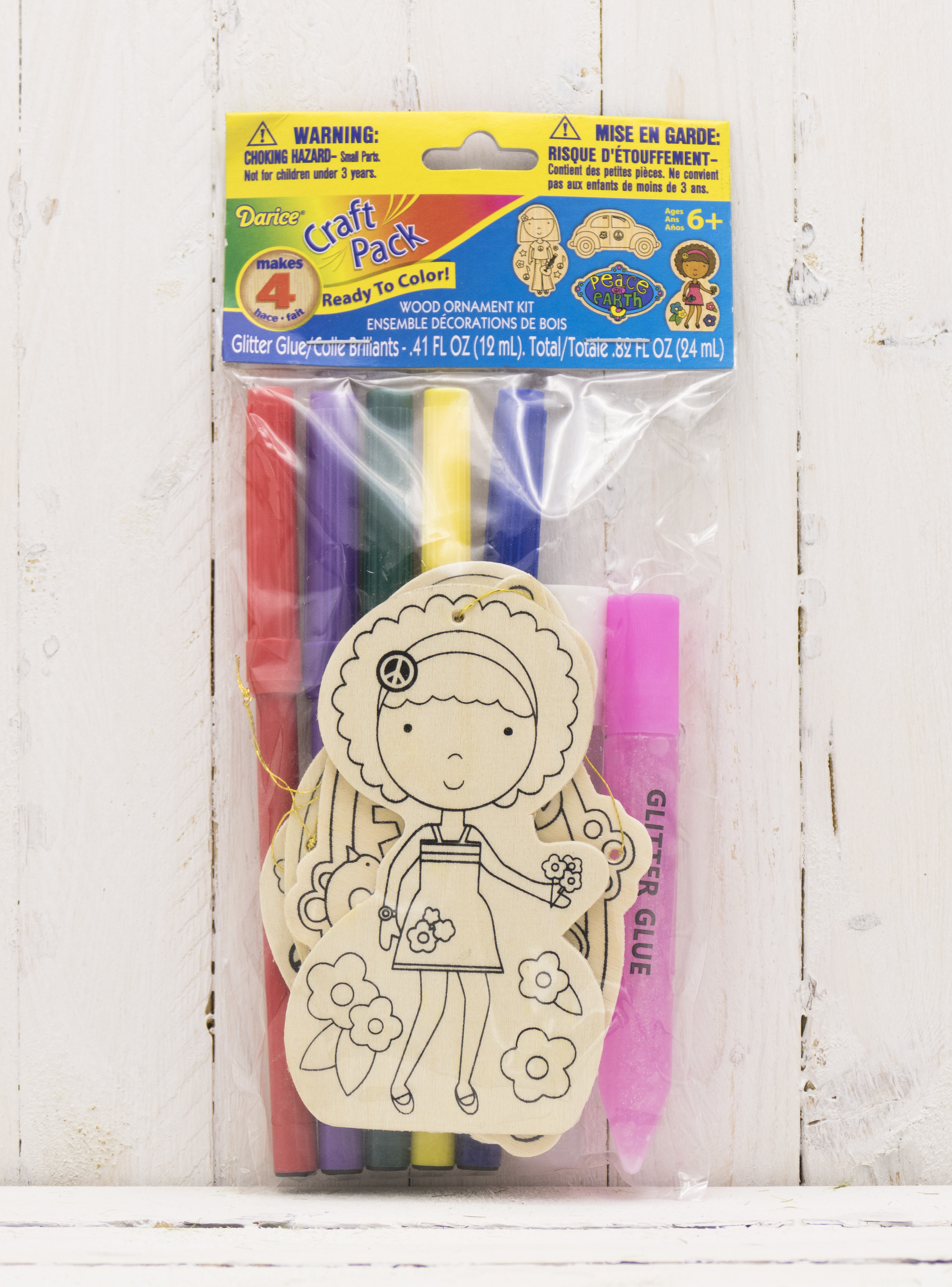 Craft wood cutout ornament kit includes markers glitter for Markers for wood crafts